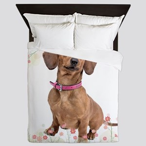 Dachshund Flowers Queen Duvet