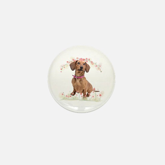 Dachshund Flowers Mini Button