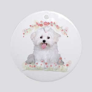 Malti Flowers Ornament (Round)