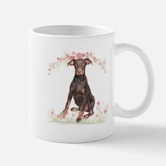 Doberman Flowers Mug