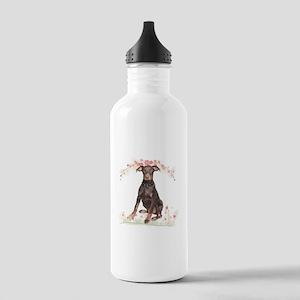 Doberman Flowers Stainless Water Bottle 1.0L