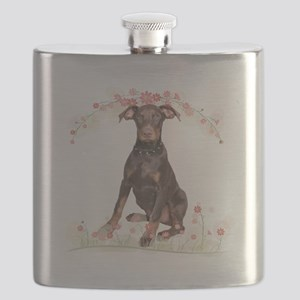 Doberman Flowers Flask