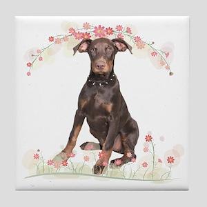Doberman Flowers Tile Coaster