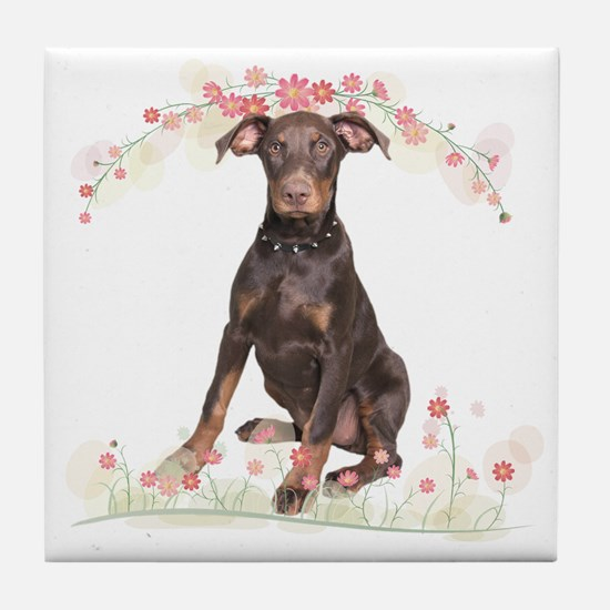 Doberman Flowers Tile Coaster