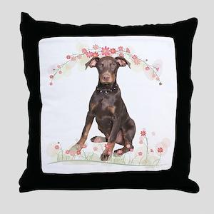Doberman Flowers Throw Pillow
