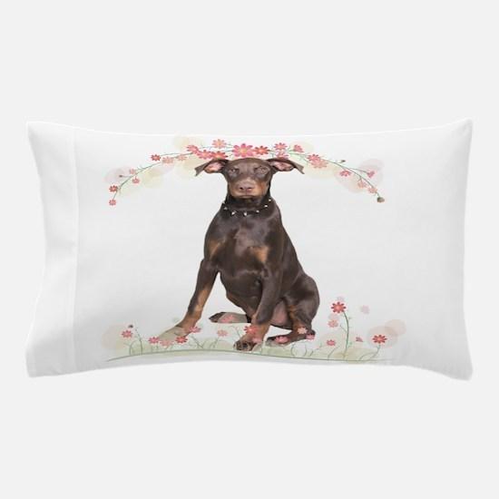 Doberman Flowers Pillow Case