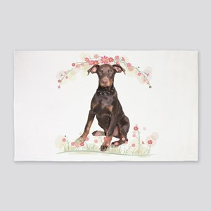 Doberman Flowers 3'x5' Area Rug