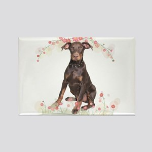 Doberman Flowers Rectangle Magnet