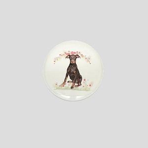 Doberman Flowers Mini Button