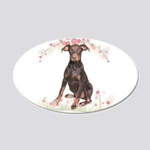 Doberman Flowers 20x12 Oval Wall Decal