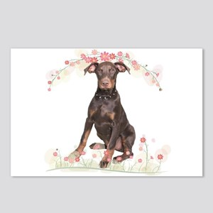Doberman Flowers Postcards (Package of 8)