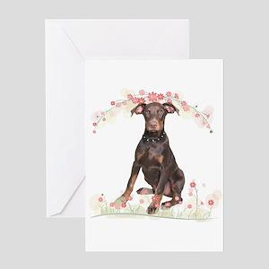 Doberman Flowers Greeting Card