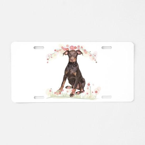 Doberman Flowers Aluminum License Plate