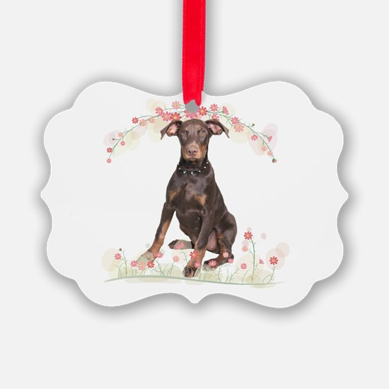 Doberman Flowers Ornament