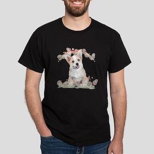 Corgi Flowers Dark T-Shirt