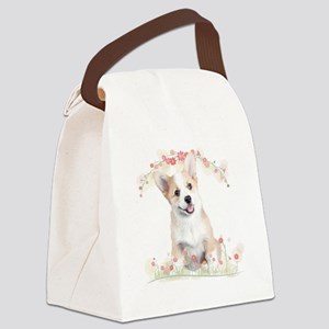 Corgi Flowers Canvas Lunch Bag