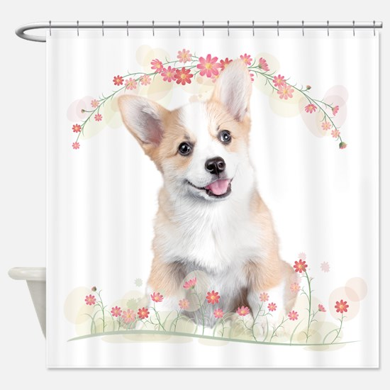 Corgi Flowers Shower Curtain