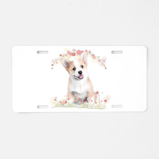 Corgi Flowers Aluminum License Plate