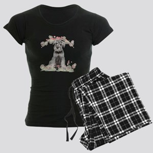 Schnauzer Flowers Women's Dark Pajamas