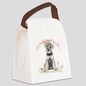 Schnauzer Flowers Canvas Lunch Bag