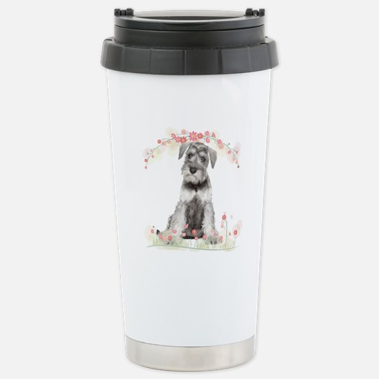 Schnauzer Flowers Stainless Steel Travel Mug