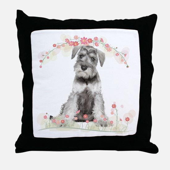 Schnauzer Flowers Throw Pillow