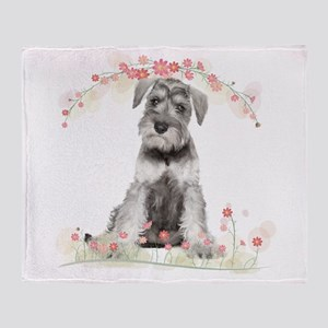 Schnauzer Flowers Throw Blanket