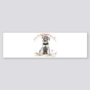 Schnauzer Flowers Sticker (Bumper)