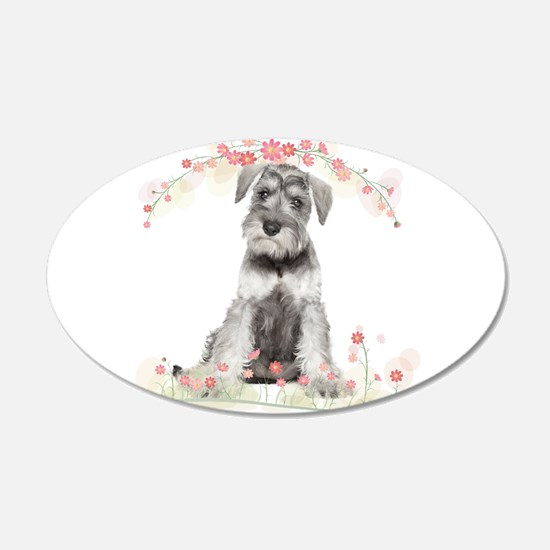 Schnauzer Flowers Wall Decal