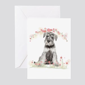 Schnauzer Flowers Greeting Cards (Pk of 10)