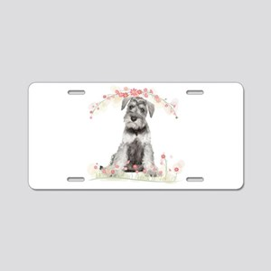 Schnauzer Flowers Aluminum License Plate