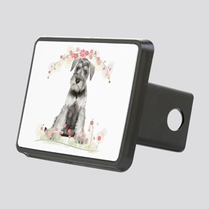 Schnauzer Flowers Rectangular Hitch Cover