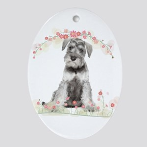 Schnauzer Flowers Ornament (Oval)