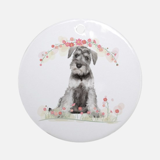 Schnauzer Flowers Ornament (Round)
