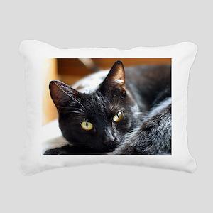 Sleek Black Cat Rectangular Canvas Pillow