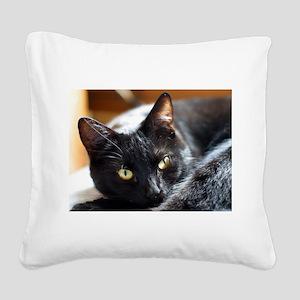 Sleek Black Cat Square Canvas Pillow