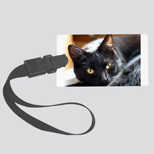 Sleek Black Cat Large Luggage Tag
