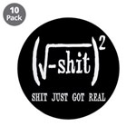 """Shit Just Got Real Funny Math 3.5"""" Button (10"""