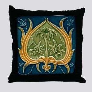 Throw Pillow with Art Nouveau floral design