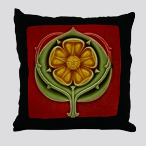 Throw Pillow with Art Noueau tri-color rosette