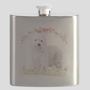 Westie Flowers Flask