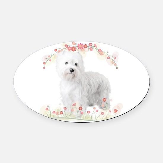 Westie Flowers Oval Car Magnet