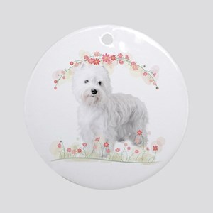 Westie Flowers Ornament (Round)