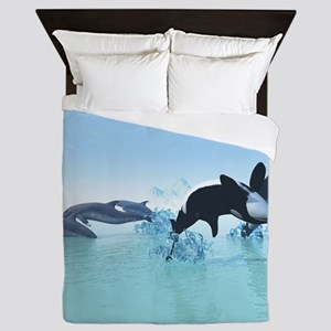Dolphins and Orca's Queen Duvet