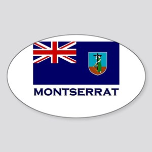 Montserrat Flag Gear Oval Sticker