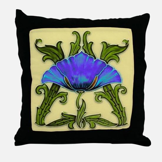 Throw Pillow with Art Nouveau mixed blue flower