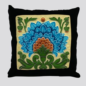 Throw Pillow with Art Nouveau peacock flower
