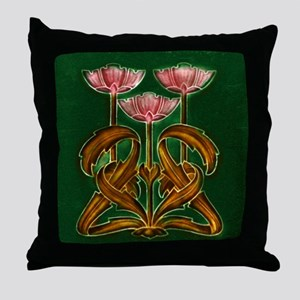 Throw Pillow with Art Nouveau pink flowers