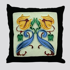 Throw Pillow with Art Nouveau twin flowers