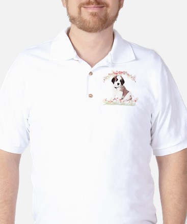 Saint Bernard Flowers Golf Shirt